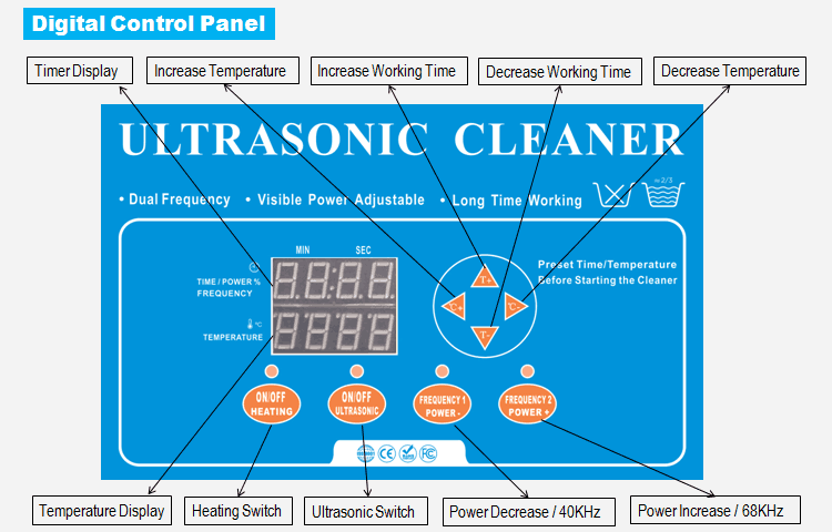 Variable Frequency Ultrasonic Cleaner Control Panel