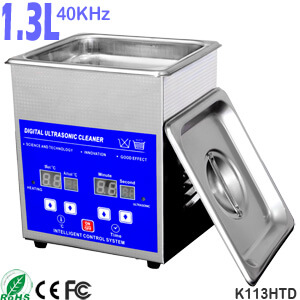 1.3L Stainless Steel Digital Heated Ultrasonic Jewelry Cleaner